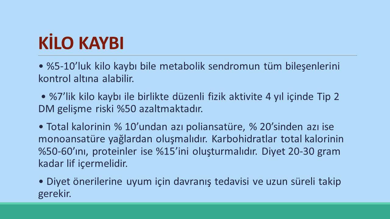 KİLO KAYBI • %5-10'luk kilo kaybı bile metabolik sendromun tüm bileşenlerini kontrol altına alabilir.