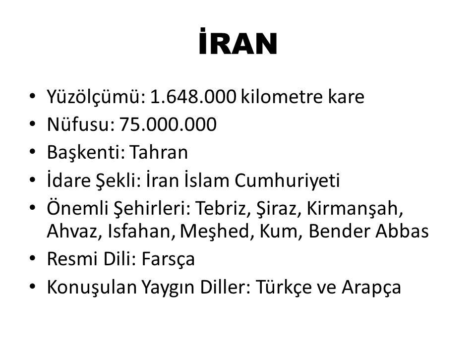 İRAN Yüzölçümü: 1.648.000 kilometre kare Nüfusu: 75.000.000