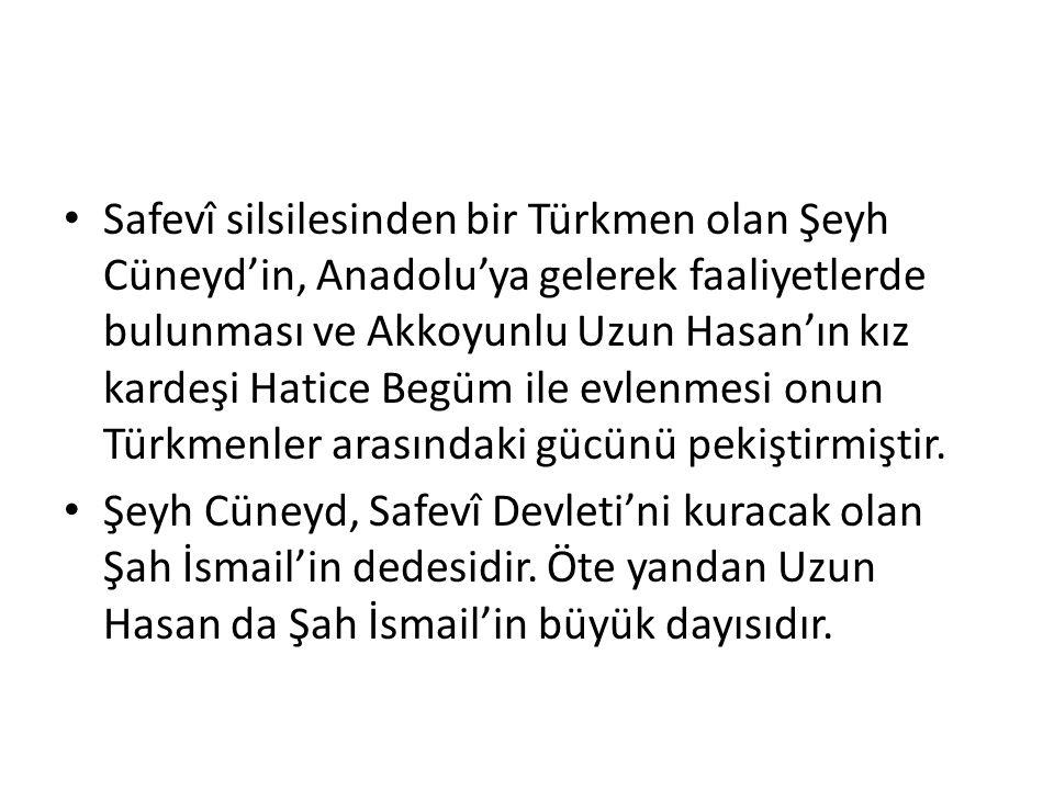 Safevî silsilesinden bir Türkmen olan Şeyh Cüneyd'in, Anadolu'ya gelerek faaliyetlerde bulunması ve Akkoyunlu Uzun Hasan'ın kız kardeşi Hatice Begüm ile evlenmesi onun Türkmenler arasındaki gücünü pekiştirmiştir.