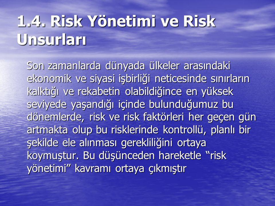 1.4. Risk Yönetimi ve Risk Unsurları