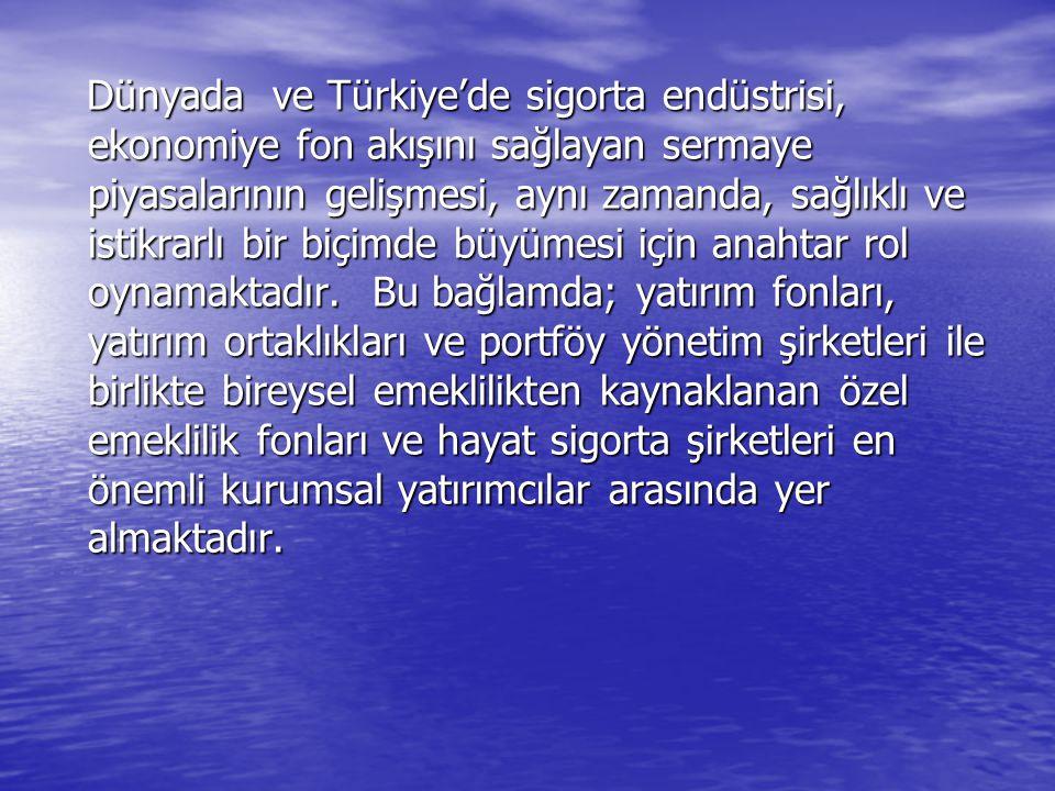 Dünyada ve Türkiye'de sigorta endüstrisi, ekonomiye fon akışını sağlayan sermaye piyasalarının gelişmesi, aynı zamanda, sağlıklı ve istikrarlı bir biçimde büyümesi için anahtar rol oynamaktadır.