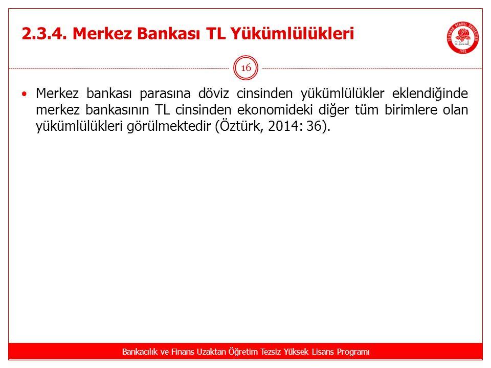 2.3.4. Merkez Bankası TL Yükümlülükleri