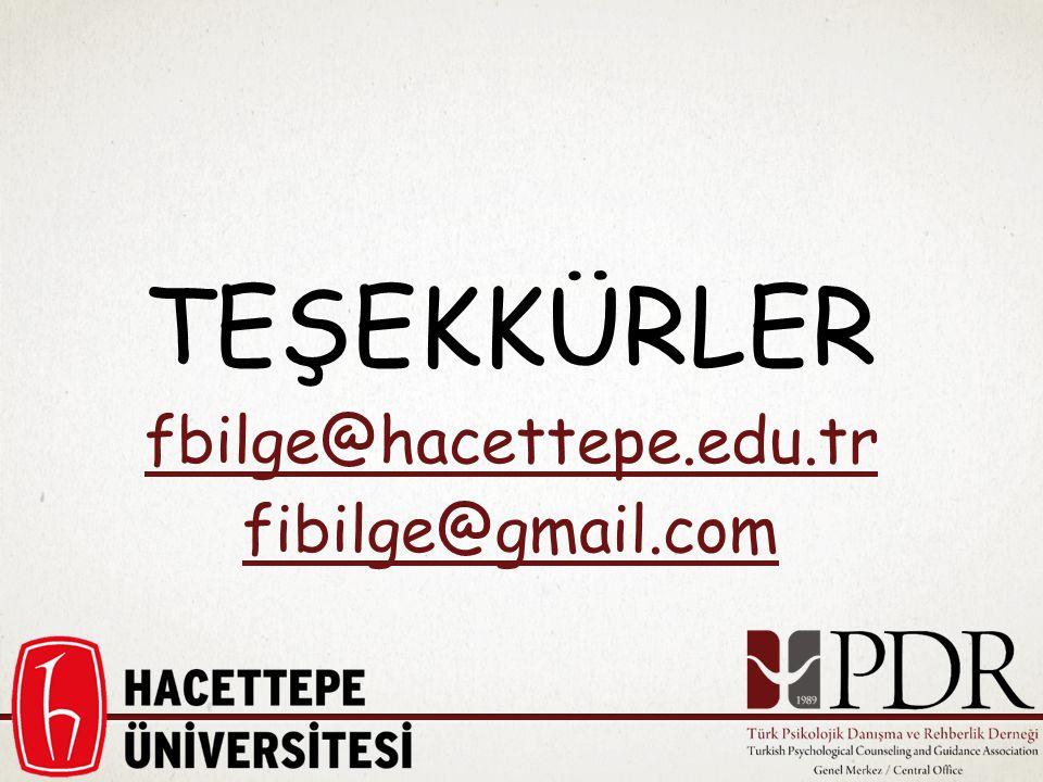 TEŞEKKÜRLER fbilge@hacettepe.edu.tr fibilge@gmail.com