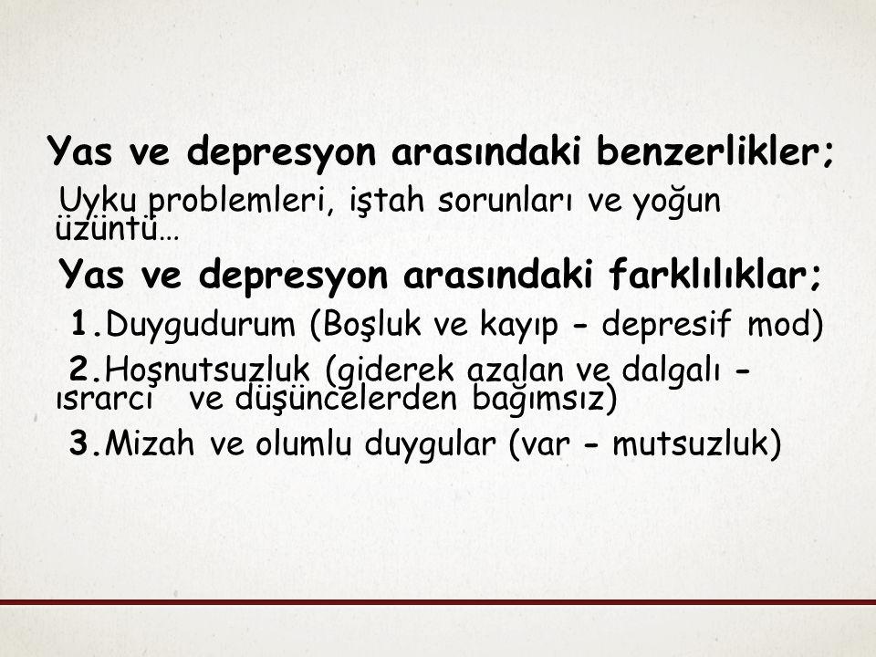 Yas ve depresyon arasındaki benzerlikler;