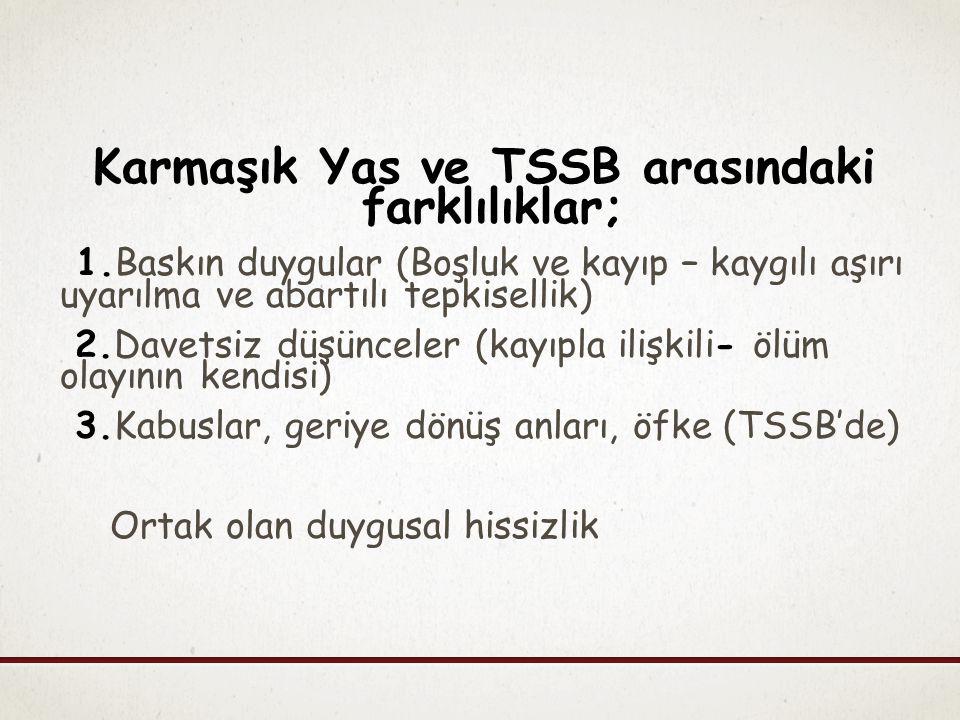 Karmaşık Yas ve TSSB arasındaki farklılıklar;