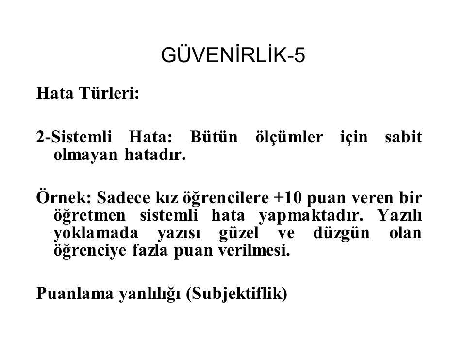GÜVENİRLİK-5 Hata Türleri:
