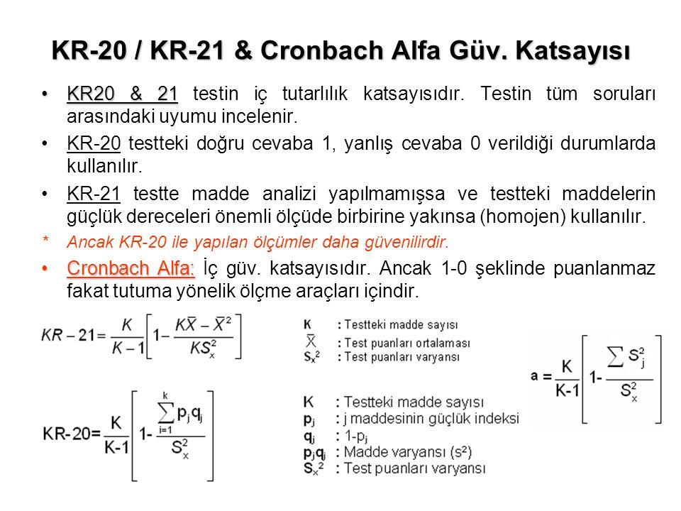 KR-20 / KR-21 & Cronbach Alfa Güv. Katsayısı