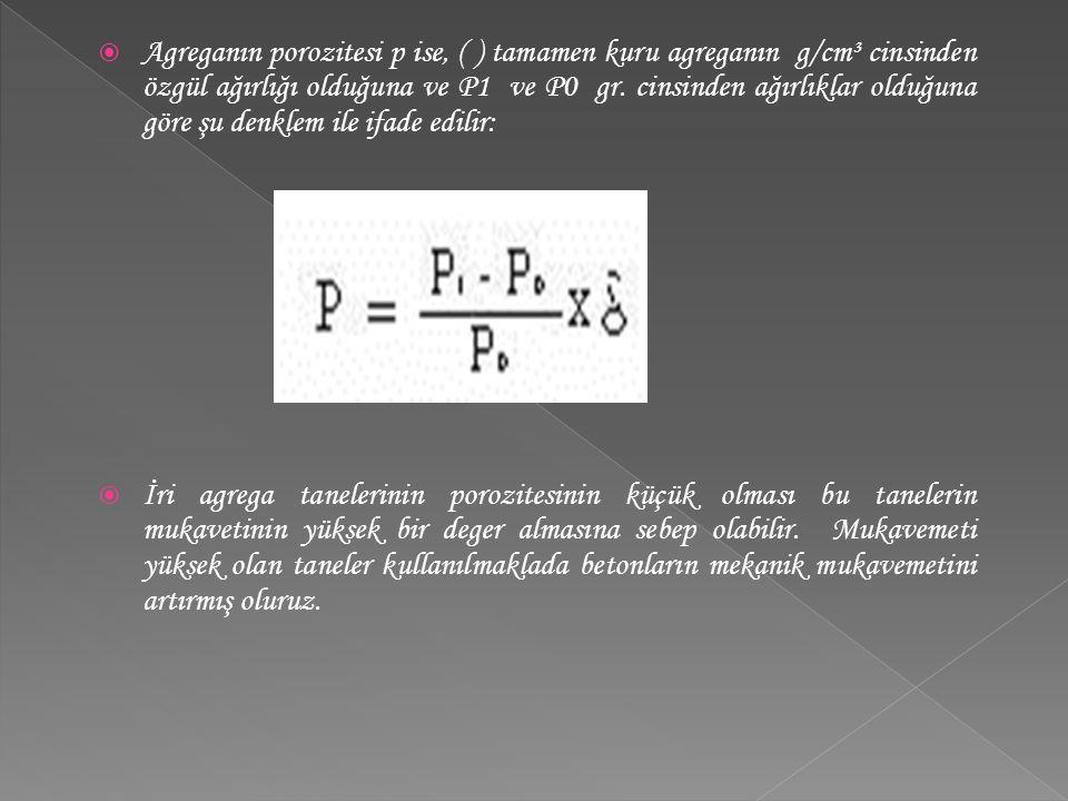 Agreganın porozitesi p ise, ( ) tamamen kuru agreganın g/cm³ cinsinden özgül ağırlığı olduğuna ve P1 ve P0 gr. cinsinden ağırlıklar olduğuna göre şu denklem ile ifade edilir: