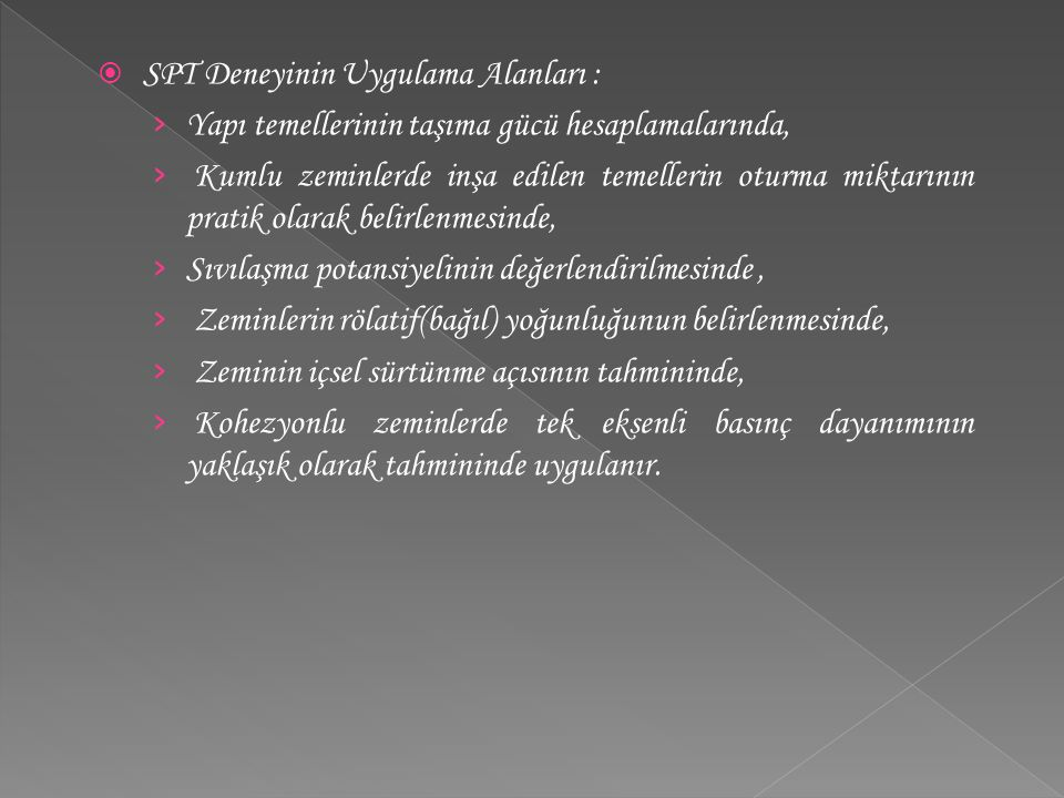 SPT Deneyinin Uygulama Alanları :