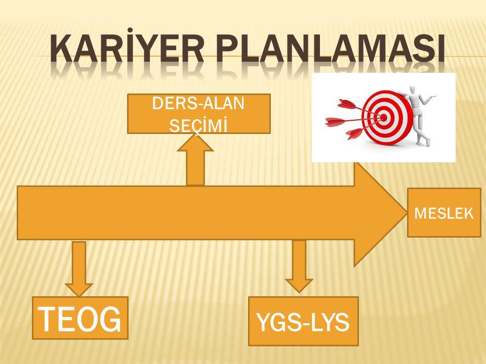 KARİYER PLANLAMASI DERS-ALAN SEÇİMİ MESLEK TEOG YGS-LYS