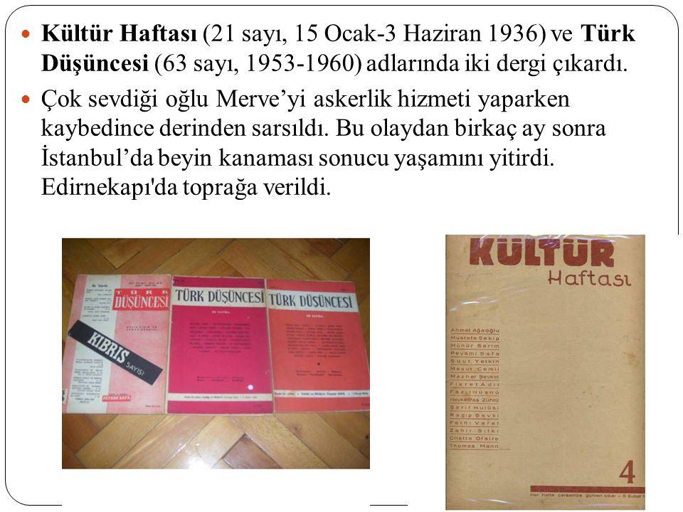 Kültür Haftası (21 sayı, 15 Ocak-3 Haziran 1936) ve Türk Düşüncesi (63 sayı, 1953-1960) adlarında iki dergi çıkardı.