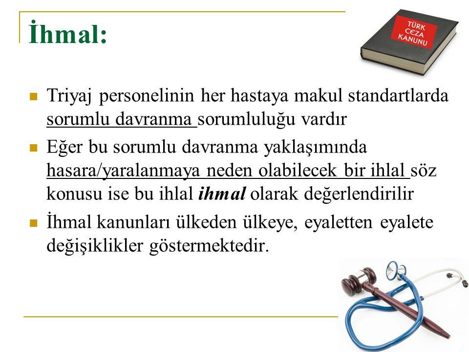 İhmal: Triyaj personelinin her hastaya makul standartlarda sorumlu davranma sorumluluğu vardır.