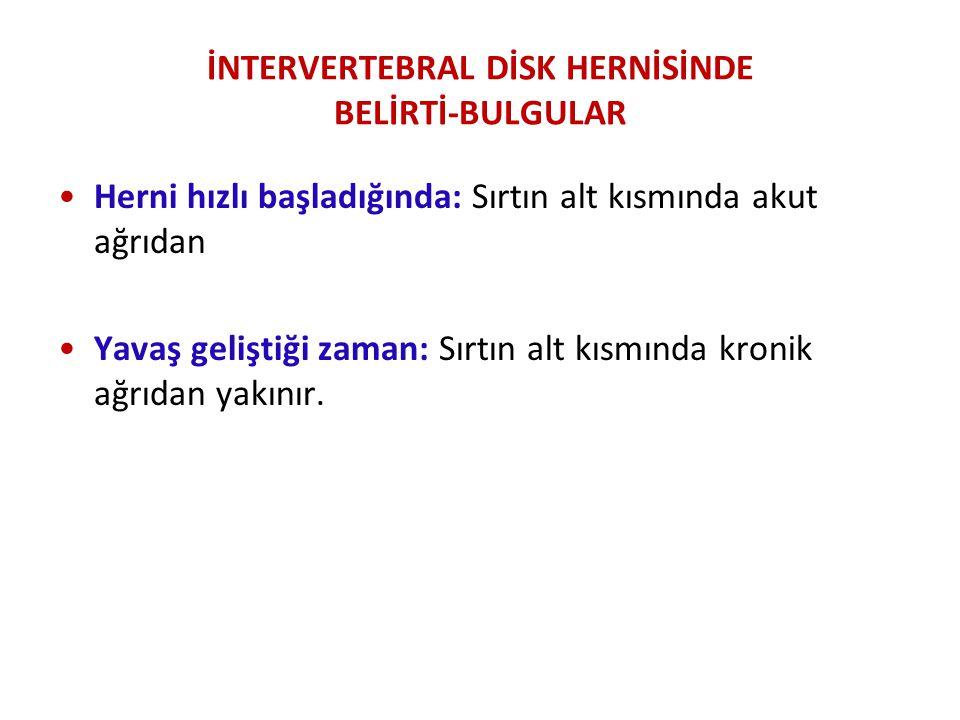 İNTERVERTEBRAL DİSK HERNİSİNDE BELİRTİ-BULGULAR
