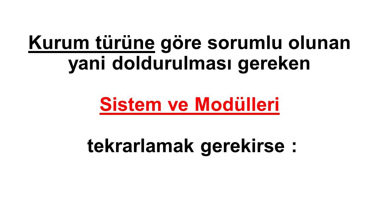 Kurum türüne göre sorumlu olunan yani doldurulması gereken Sistem ve Modülleri tekrarlamak gerekirse :
