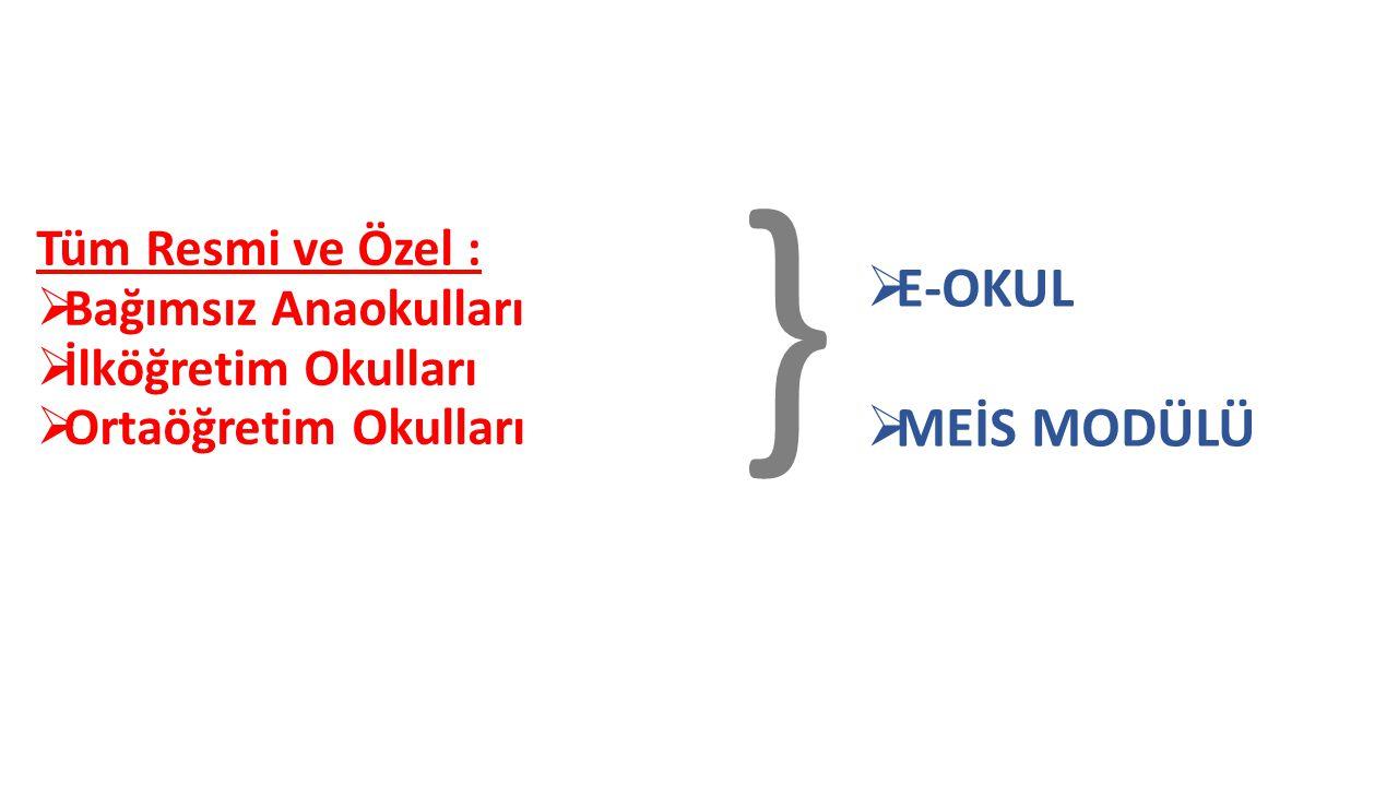 } E-OKUL MEİS MODÜLÜ Tüm Resmi ve Özel : Bağımsız Anaokulları