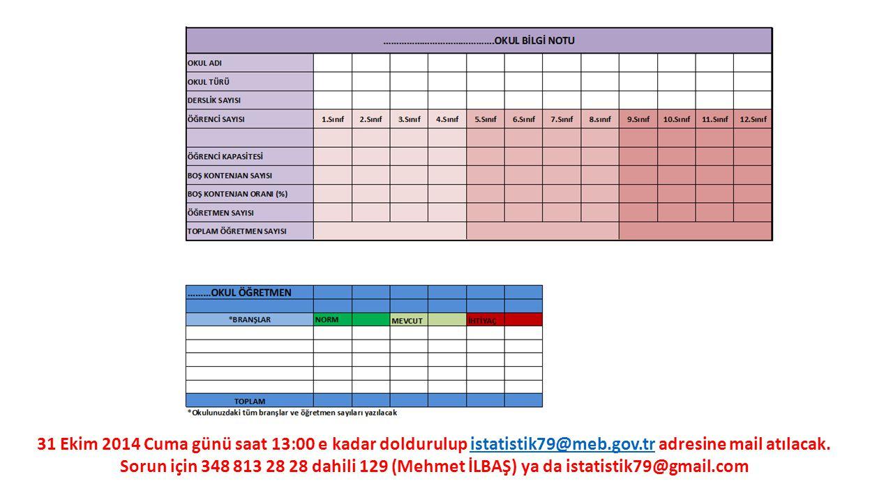 31 Ekim 2014 Cuma günü saat 13:00 e kadar doldurulup istatistik79@meb