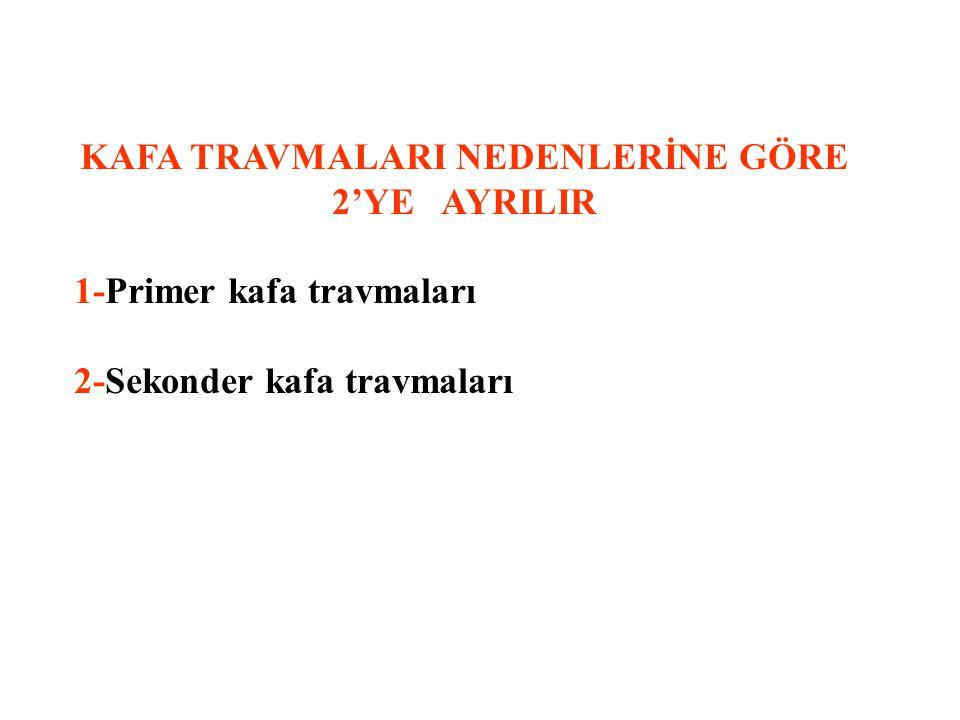 KAFA TRAVMALARI NEDENLERİNE GÖRE 2'YE AYRILIR
