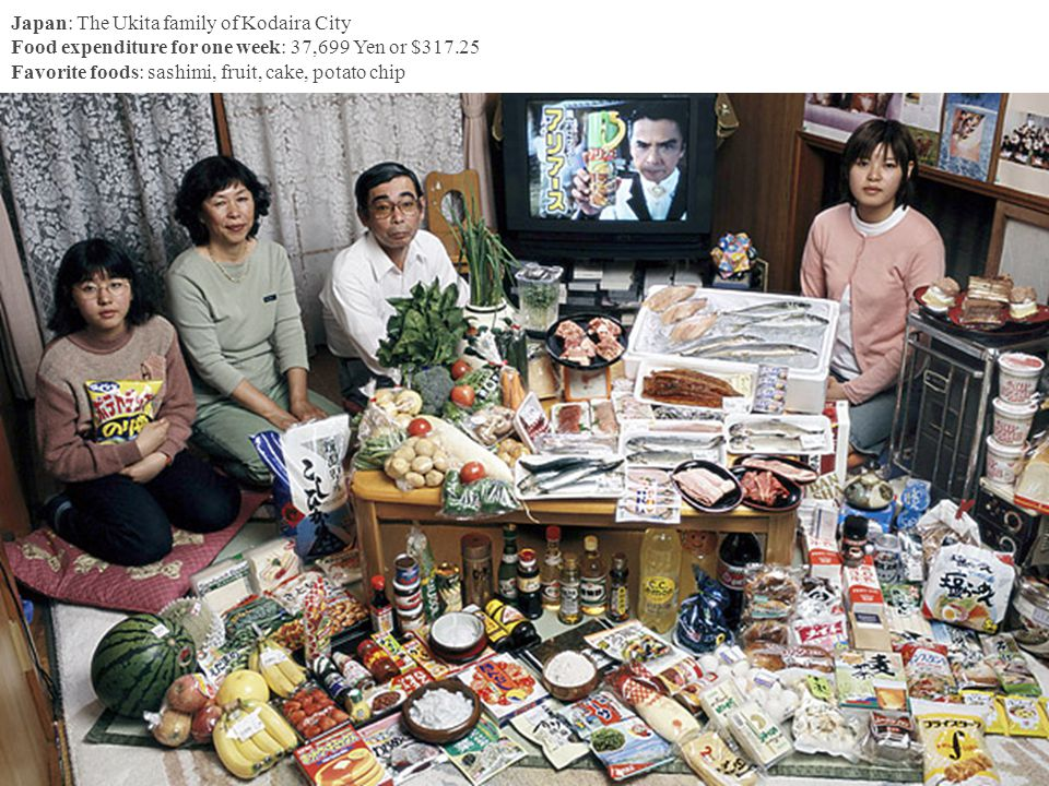 Japan: The Ukita family of Kodaira City Food expenditure for one week: 37,699 Yen or $317.25 Favorite foods: sashimi, fruit, cake, potato chip