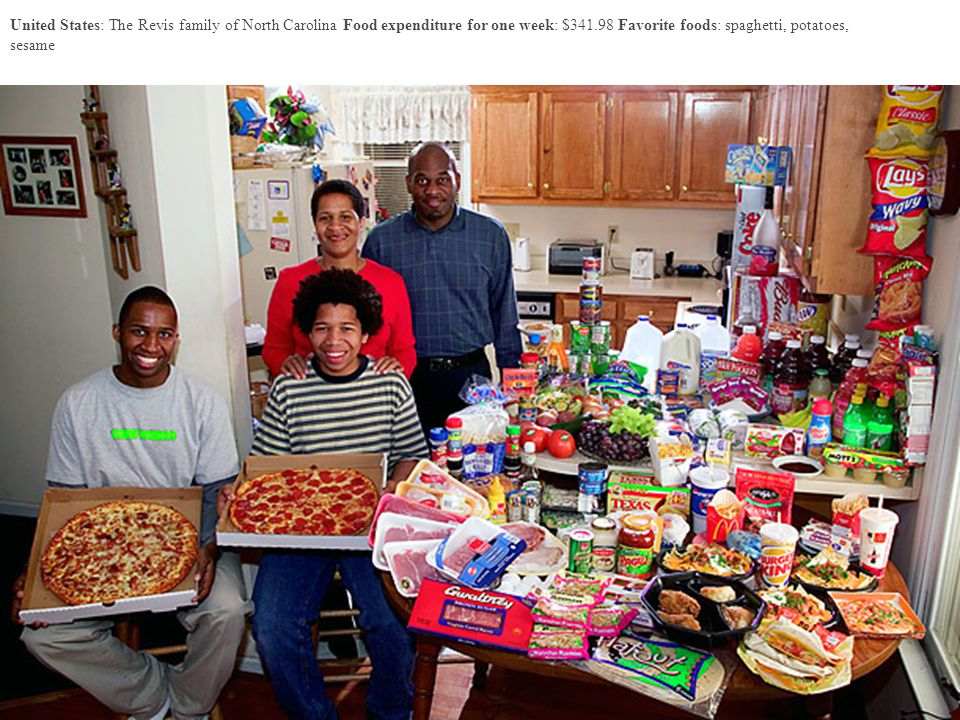 United States: The Revis family of North Carolina Food expenditure for one week: $341.98 Favorite foods: spaghetti, potatoes, sesame