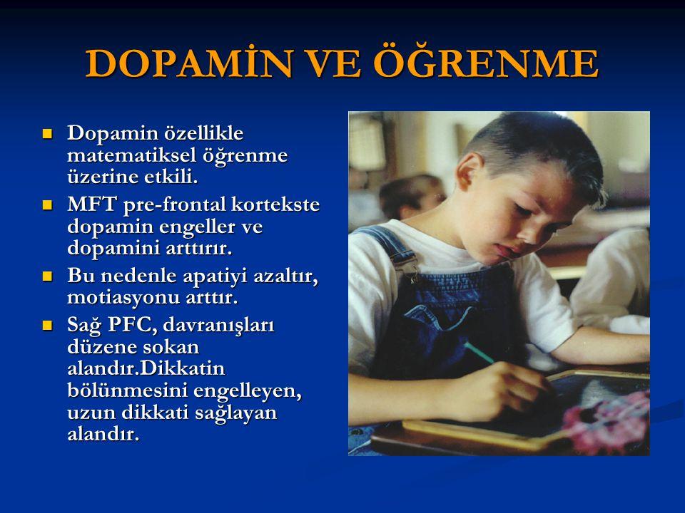 DOPAMİN VE ÖĞRENME Dopamin özellikle matematiksel öğrenme üzerine etkili. MFT pre-frontal kortekste dopamin engeller ve dopamini arttırır.