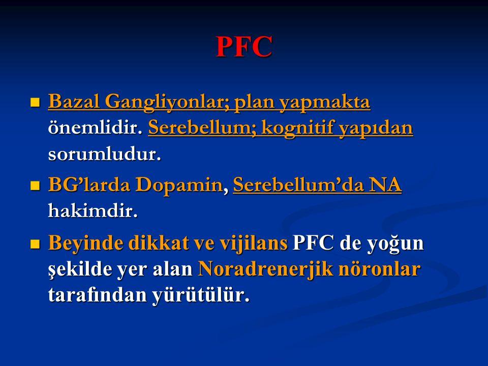 PFC Bazal Gangliyonlar; plan yapmakta önemlidir. Serebellum; kognitif yapıdan sorumludur. BG'larda Dopamin, Serebellum'da NA hakimdir.