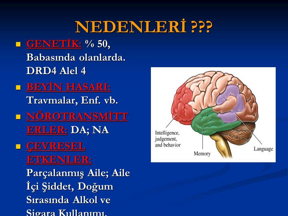 NEDENLERİ GENETİK: % 50, Babasında olanlarda. DRD4 Alel 4