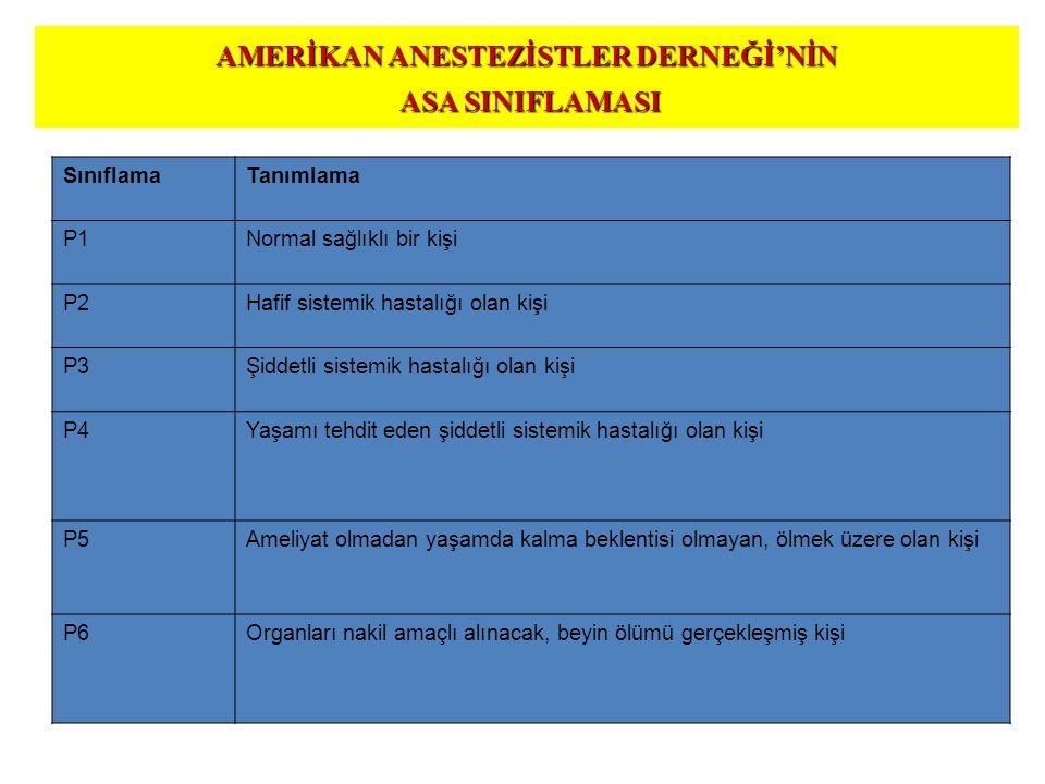 AMERİKAN ANESTEZİSTLER DERNEĞİ'NİN