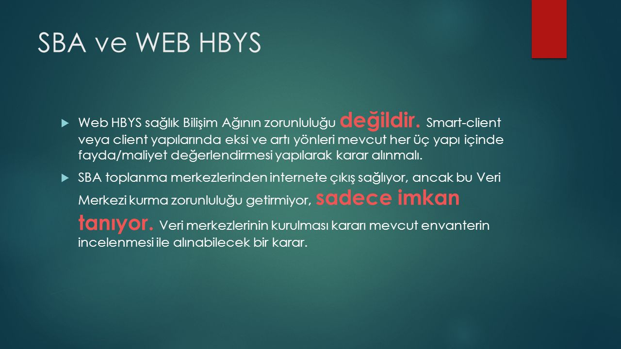 SBA ve WEB HBYS