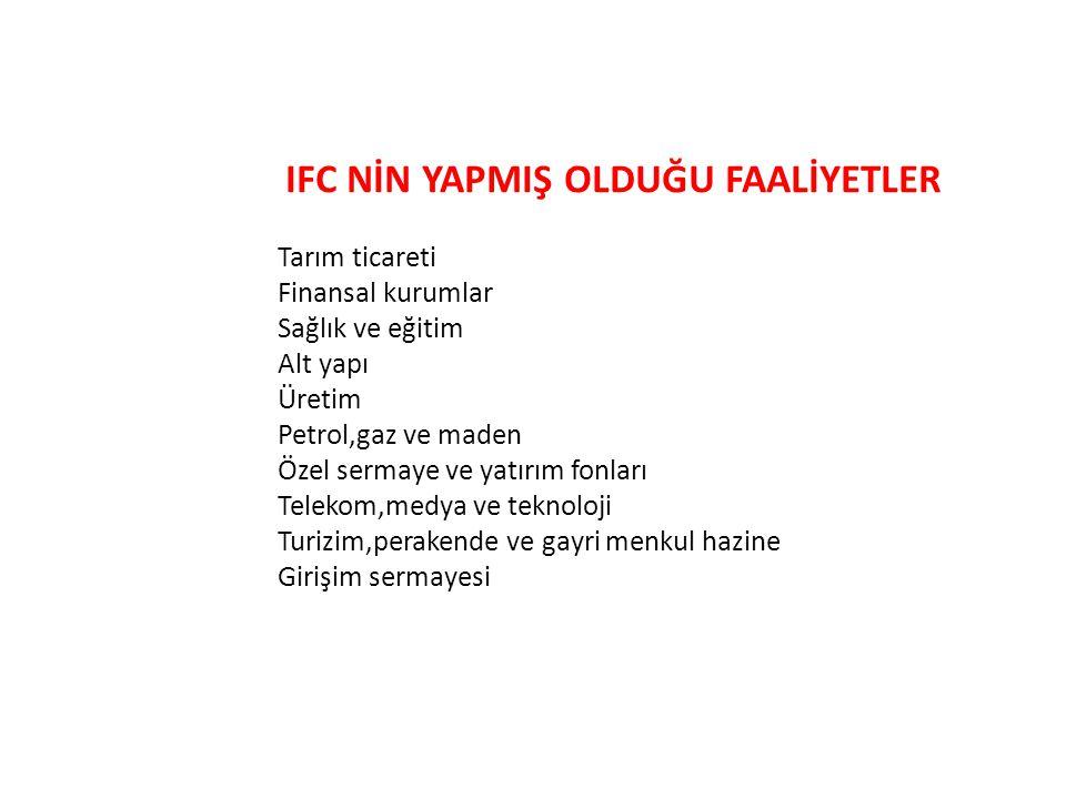 IFC NİN YAPMIŞ OLDUĞU FAALİYETLER