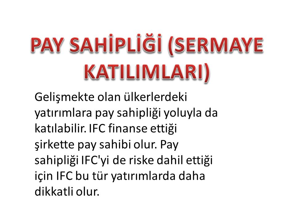 PAY SAHİPLİĞİ (SERMAYE KATILIMLARI)