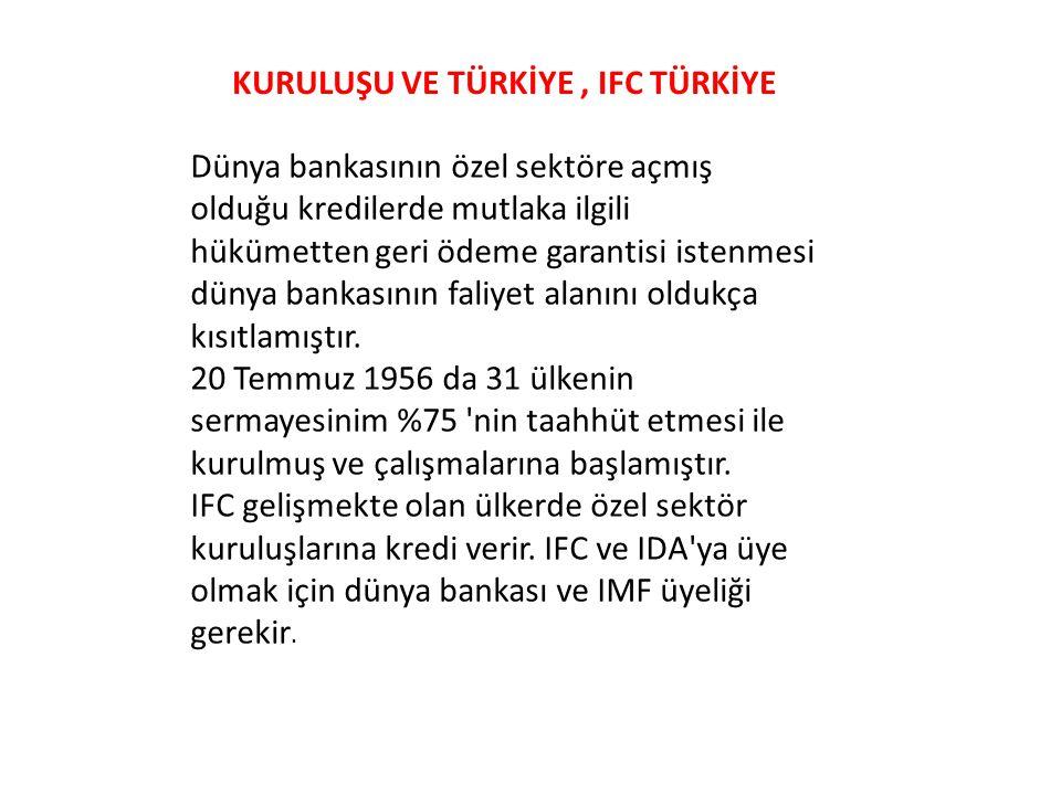 KURULUŞU VE TÜRKİYE , IFC TÜRKİYE