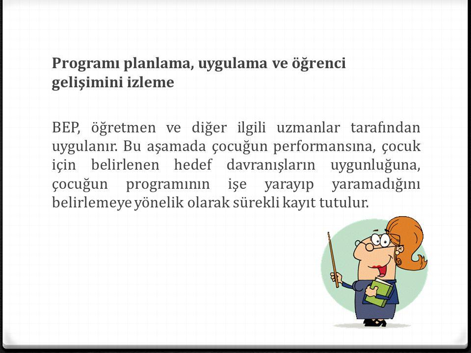 Programı planlama, uygulama ve öğrenci gelişimini izleme