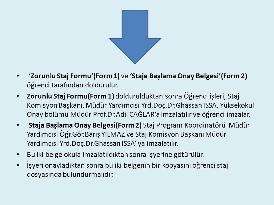 'Zorunlu Staj Formu'(Form 1) ve 'Staja Başlama Onay Belgesi'(Form 2) öğrenci tarafından doldurulur.