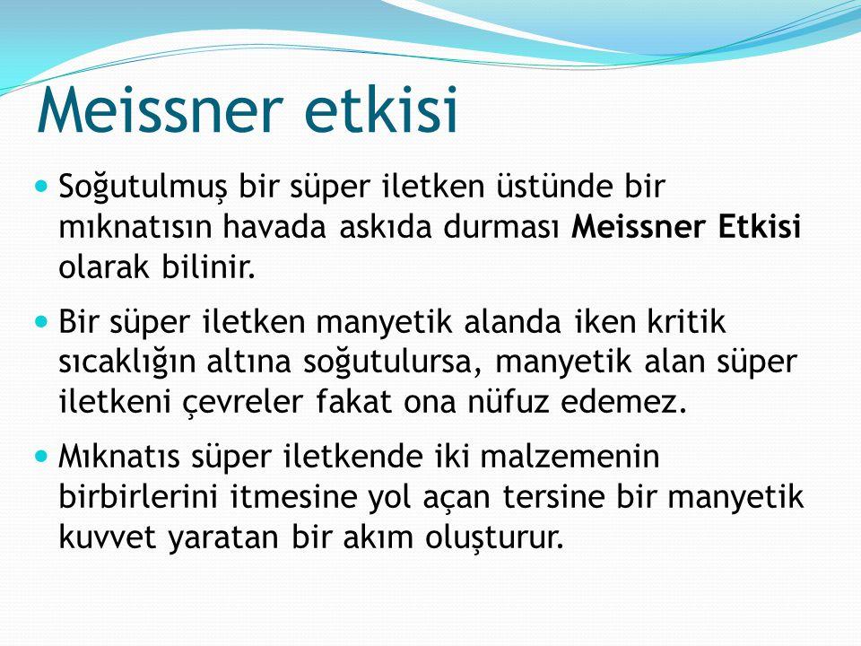 Meissner etkisi Soğutulmuş bir süper iletken üstünde bir mıknatısın havada askıda durması Meissner Etkisi olarak bilinir.