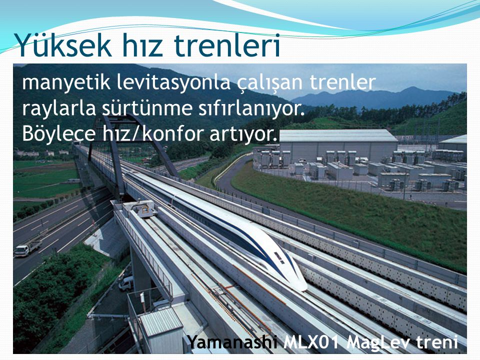 Yüksek hız trenleri manyetik levitasyonla çalışan trenler