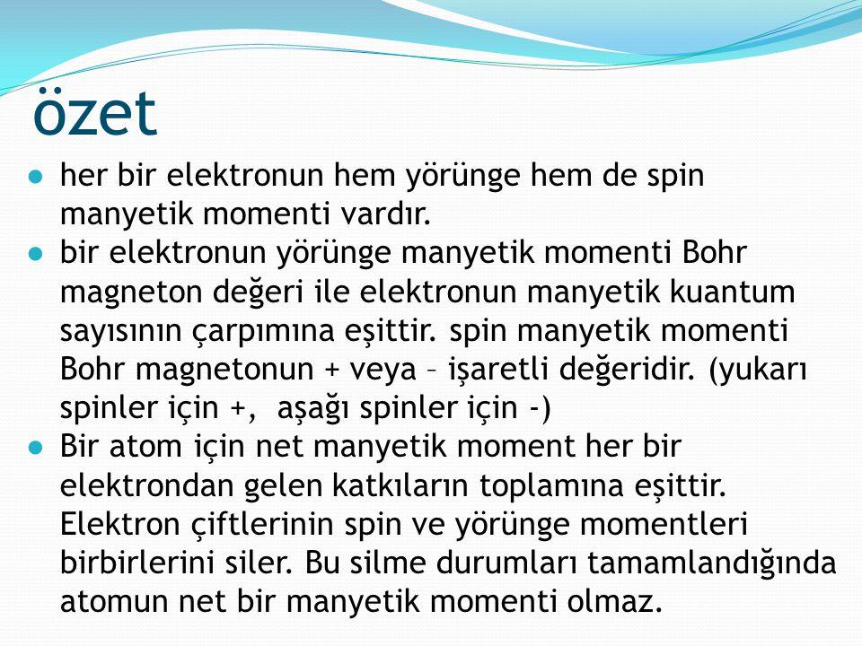 özet her bir elektronun hem yörünge hem de spin manyetik momenti vardır.