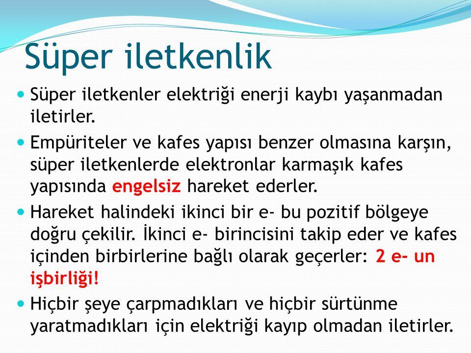 Süper iletkenlik Süper iletkenler elektriği enerji kaybı yaşanmadan iletirler.