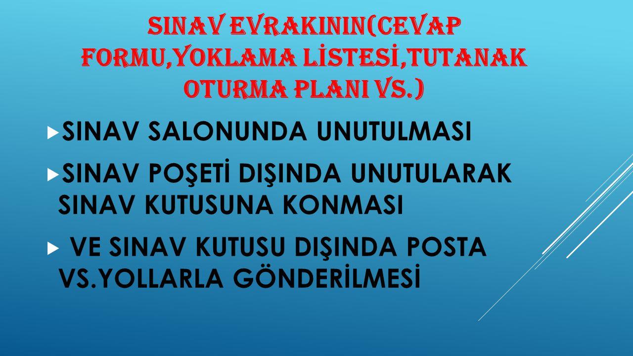 SINAV EVRAKININ(CEVAP FORMU,YOKLAMA LİSTESİ,TUTANAK OTURMA PLANI VS.)