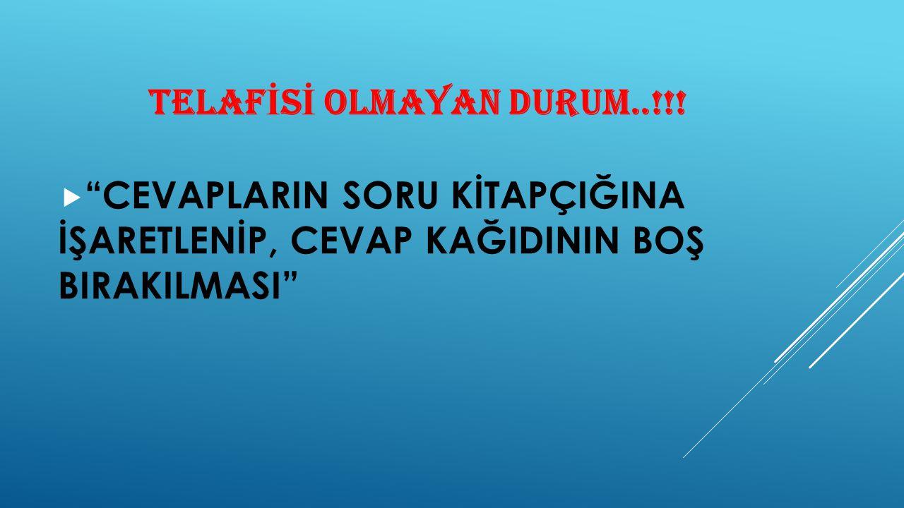 TELAFİSİ OLMAYAN DURUM..!!!