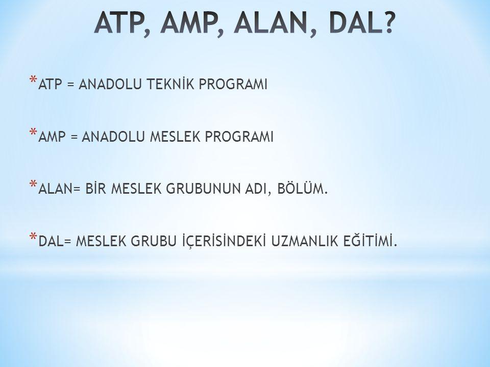 ATP, AMP, ALAN, DAL ATP = ANADOLU TEKNİK PROGRAMI