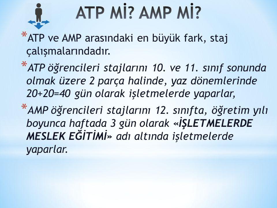 ATP Mİ AMP Mİ ATP ve AMP arasındaki en büyük fark, staj çalışmalarındadır.