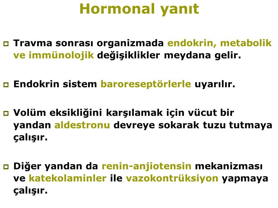Hormonal yanıt Travma sonrası organizmada endokrin, metabolik ve immünolojik değişiklikler meydana gelir.