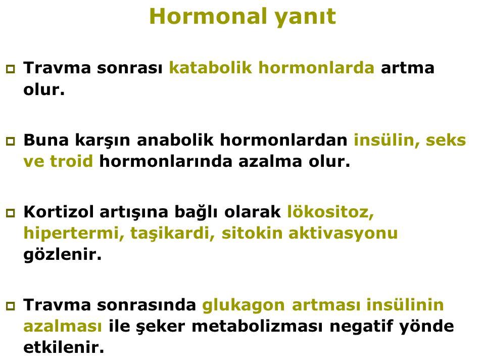 Hormonal yanıt Travma sonrası katabolik hormonlarda artma olur.
