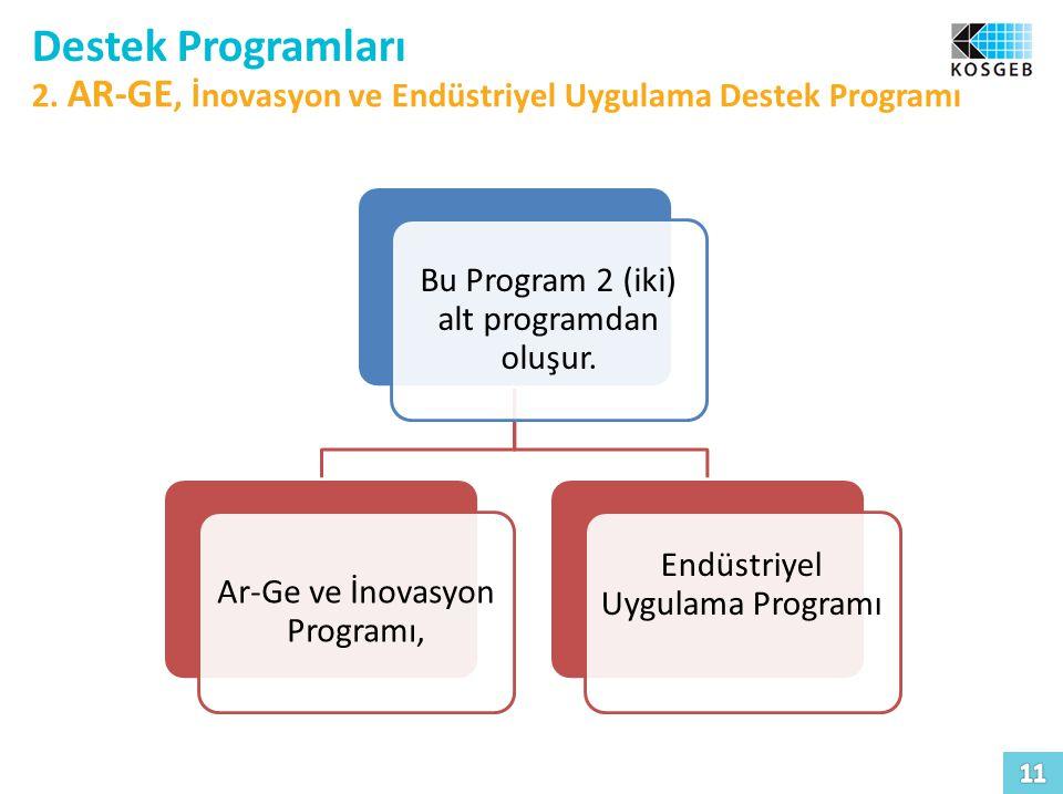 Destek Programları 2. AR-GE, İnovasyon ve Endüstriyel Uygulama Destek Programı. Bu Program 2 (iki) alt programdan oluşur.
