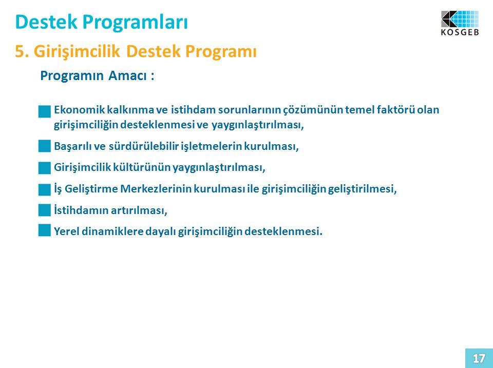 Destek Programları 5. Girişimcilik Destek Programı Programın Amacı :