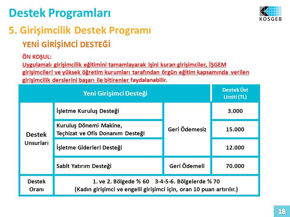 Destek Programları 5. Girişimcilik Destek Programı