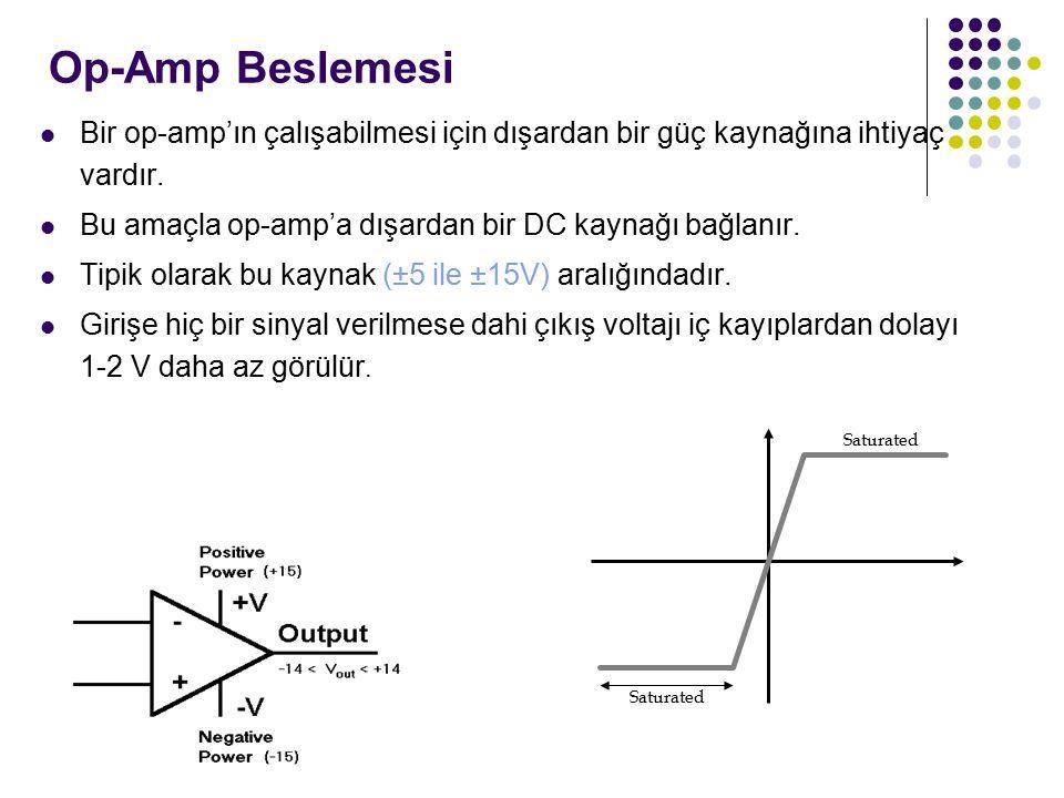 Op-Amp Beslemesi Bir op-amp'ın çalışabilmesi için dışardan bir güç kaynağına ihtiyaç vardır. Bu amaçla op-amp'a dışardan bir DC kaynağı bağlanır.