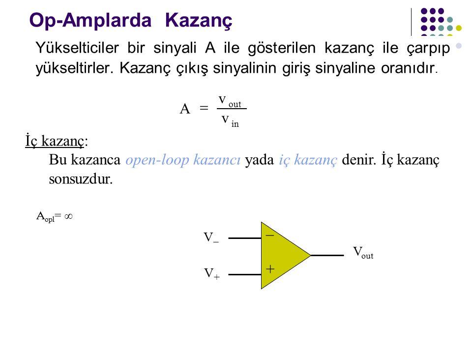 Op-Amplarda Kazanç Yükselticiler bir sinyali A ile gösterilen kazanç ile çarpıp yükseltirler. Kazanç çıkış sinyalinin giriş sinyaline oranıdır.