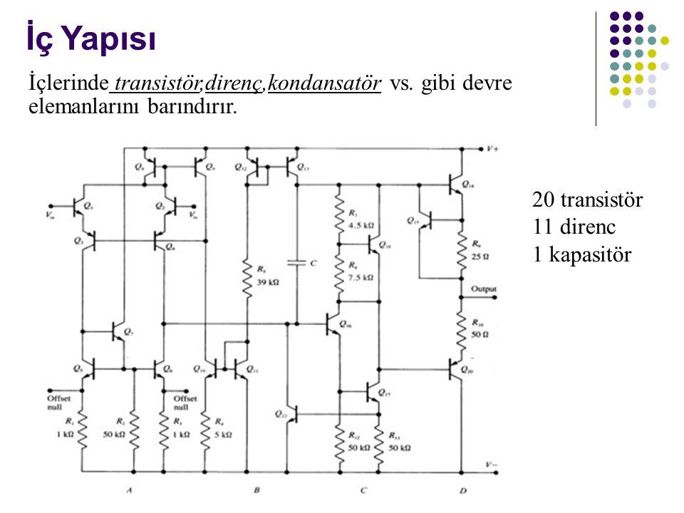 İç Yapısı İçlerinde transistör,direnç,kondansatör vs. gibi devre elemanlarını barındırır. 20 transistör.