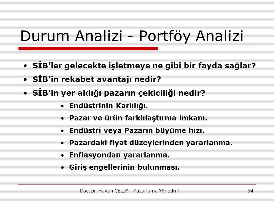 Durum Analizi - Portföy Analizi